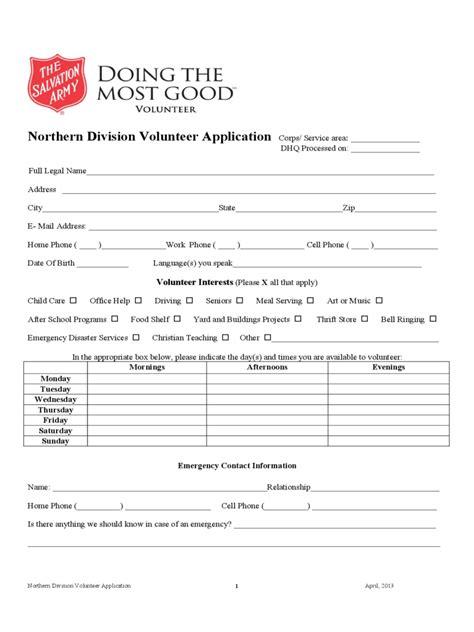 salvation army volunteer application form 2 free