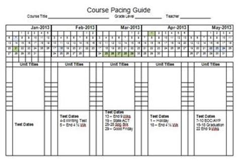 pacing calendar template for teachers 2013 semester pacing guide template file freebie by