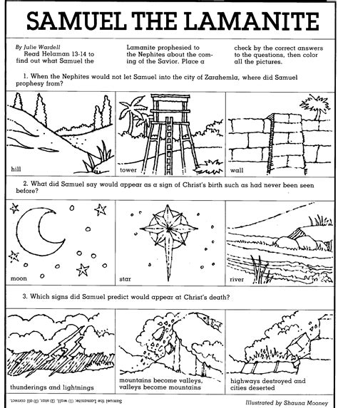 lds coloring pages samuel the lamanite book of mormon activities games teaching lds children