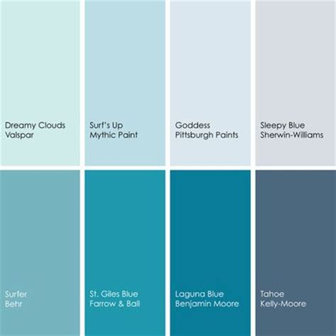 benjamin colors in valspar paint blue shades clockwise from top left dreamy clouds 5002 5b from valspar surf s up 042 3