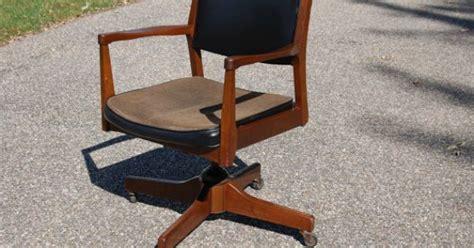 wooden rocking desk chair walnut tilt swivel office chair mid century mad era
