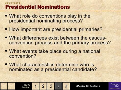 Chapter 13 Section 4 Presidential Nominations by Government Chapter 13 Powerpoint