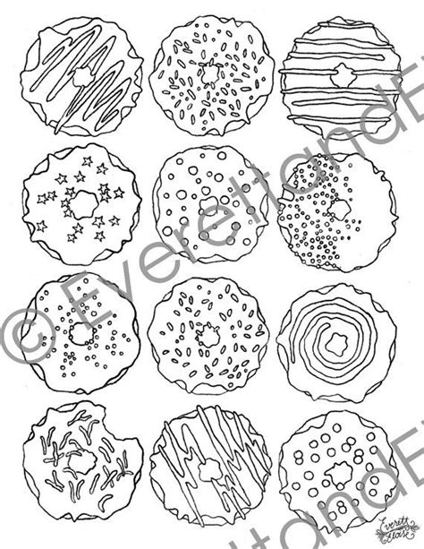 Digital Download Quot Donuts Quot Coloring Page Coloring Donuts Coloring Pages