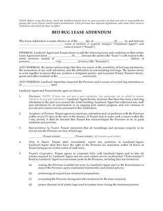 bed bug addendum bed bug addendum doc 600630 lease addendum form