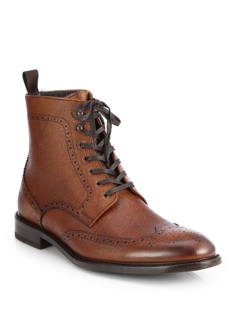 to boot york pebbled leather wingtip ankle boot in brown