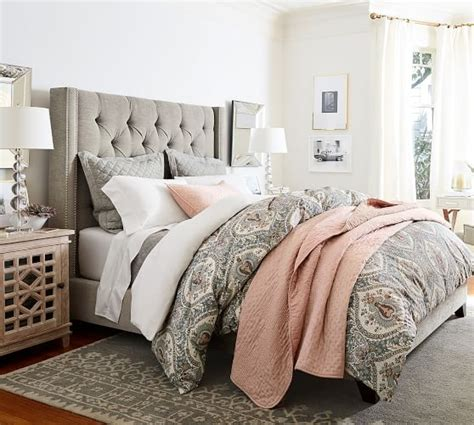 queen headboard sale save 20 on pottery barn upholstered beds sale to glam up