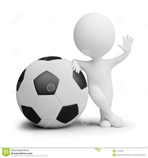can stock photo clipart 3d small soccer player with the big stock