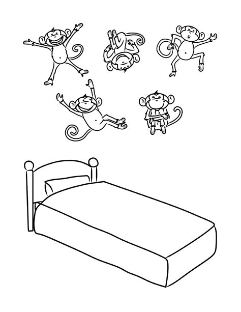 monkeys on the bed monkeys jumping on a bed coloring pages