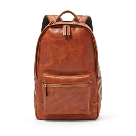 estate casual leather backpack fossil