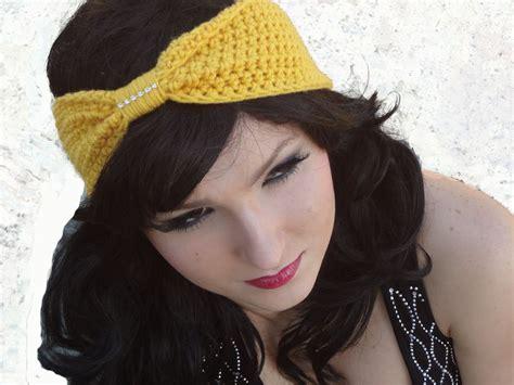 crocheted rhinestone bow headband turban scarf by