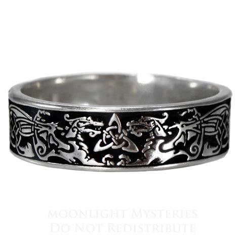 Narrow Celtic Dragon Ring triquetra medieval renaissance