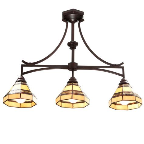 Island Chandeliers Hton Bay 3 Light Rubbed Bronze Kitchen Island Light With Style Stained