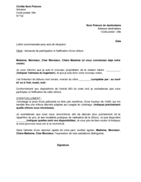 Lettre De Cloture Free Lettre De Demande Au Voisin De Participer 224 L 233 Dification