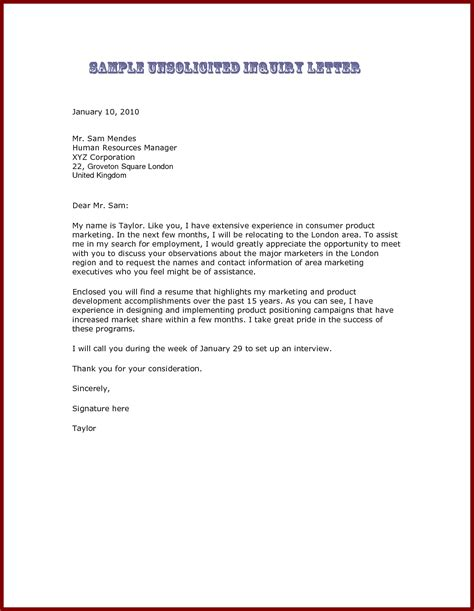 cover letter app sle unsolicited cover letter the best letter sle