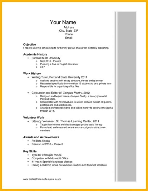 Summary Resume Sample by 1 Scholarship Resume Bursary Cover Letter