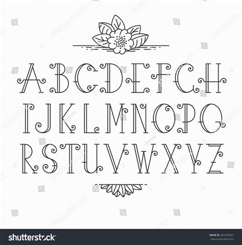 Wedding Font Outline by Vector Mono Line Decorative Font Stock Vector