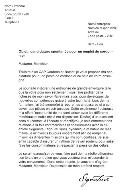 Lettre De Motivation Vendeuse Fromagerie Lettre De Motivation Cordonnier Mod 232 Le De Lettre