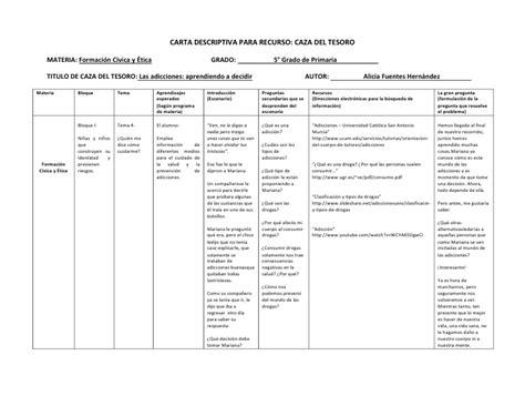 ejemplo de cartas descriptivas de educacion preescolar carta descriptiva caza tesoro alicia