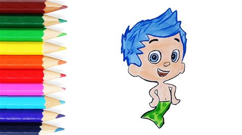 Bubble Guppies Draw And Color Drawing And Coloring Gil Colored Drawings