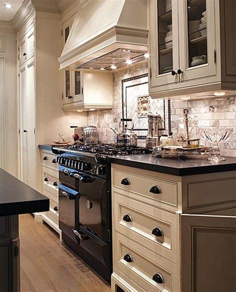 kitchen black  white kitchen marble subway tile