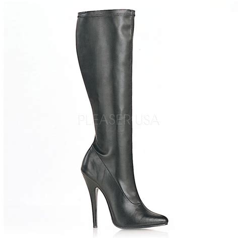 black stretch faux leather knee high boots boots catalog