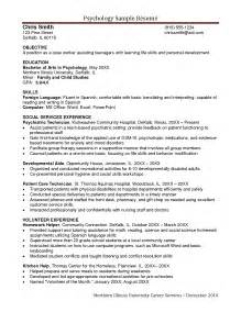 psychology resume templates exles of resumes resume exle beginner acting