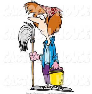 House Cleaning Cartoon Of A Spring Cleaning Lady Standing With A Mop By