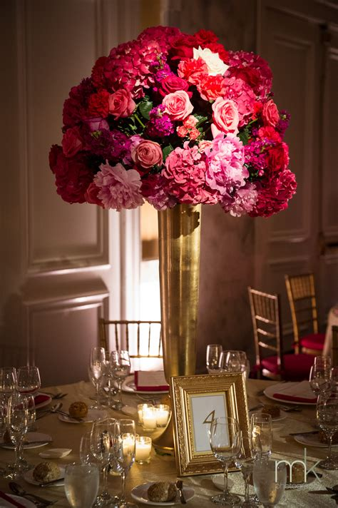 gold centerpieces beautiful blooms ritz carlton philadelphia pink and gold