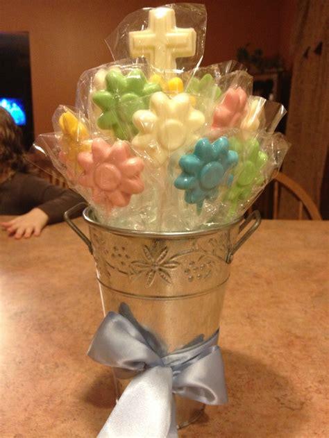 communion flower centerpieces chocolate lollipop flowers communion centerpieces