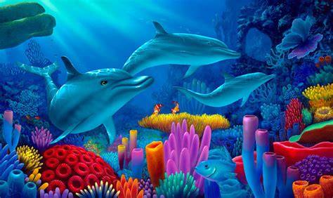Under The Sea Wall Stickers dolphin painting secrets of the sea