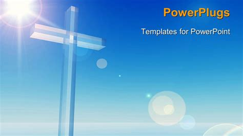 ppt templates free download crystalgraphics powerpoint template a bluish background with a cross 6943