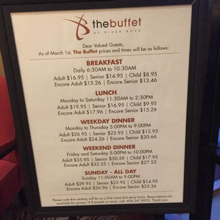 pricing for the buffet picture of river rock casino