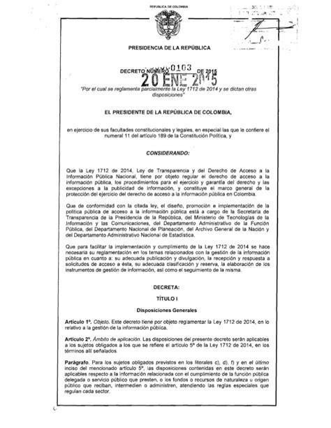 decreto 1069 de 2015 inicio decreto 103 de 2015