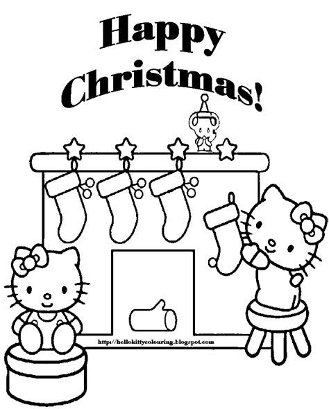 christmas kitty coloring page xmas coloring pages
