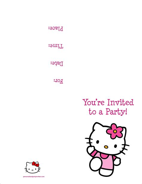 free printable birthday invitations quarter fold hello kitty free printable birthday party invitation