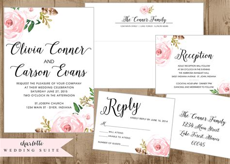 printable wedding stationery printable wedding invitation suite with vintage pink