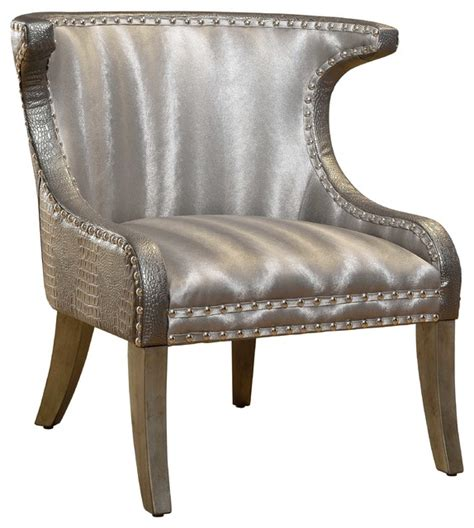 Silver Accent Chair Winmark Club Chair Silver Croco Transitional Armchairs And Accent Chairs By Gail S Accents