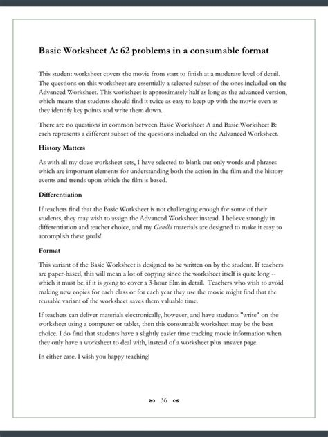 Gandhi Biography Activity | gandhi movie worksheets 123 cloze fill in problems