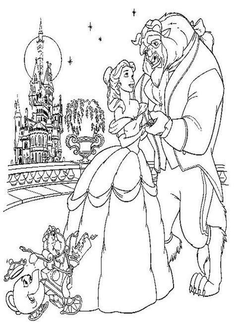 beauty and the beast dancing coloring pages beauty and the beast color pages coloring home