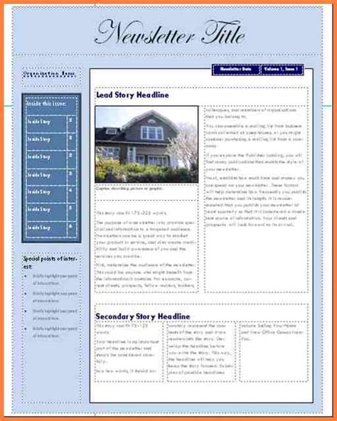 Free Templates For Newsletters In Microsoft Word by 6 Microsoft Office Newsletter Templates Free Newsletter Template