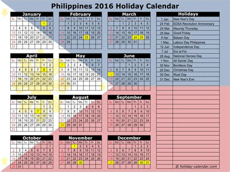 2016 Monthly Planner Printable Philippines | philippines 2016 2017 holiday calendar