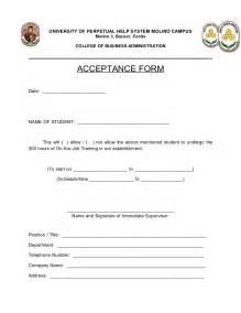 user acceptance form template ojt acceptance form