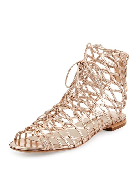 sandals lace up webster lace up sandals in metallic lyst