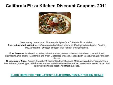 California Pizza Kitchen Discount Coupons 2011 Authorstream Promo Code California Pizza Kitchen