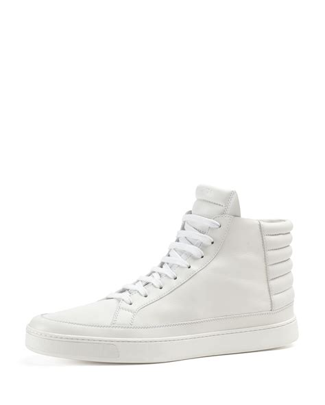 gucci leather high top sneaker in white for lyst
