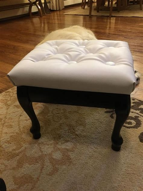 how to reupholster a round ottoman march furniture flip challenge 30dayflip round up a