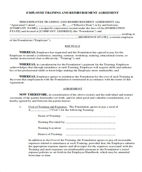 reimbursement agreement template reimbursement agreement