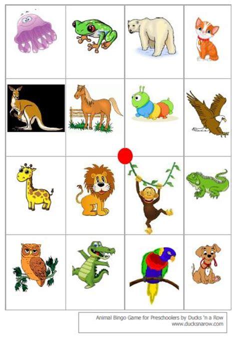 printable animal bingo games ducks n a row preschool bingo game with free printables