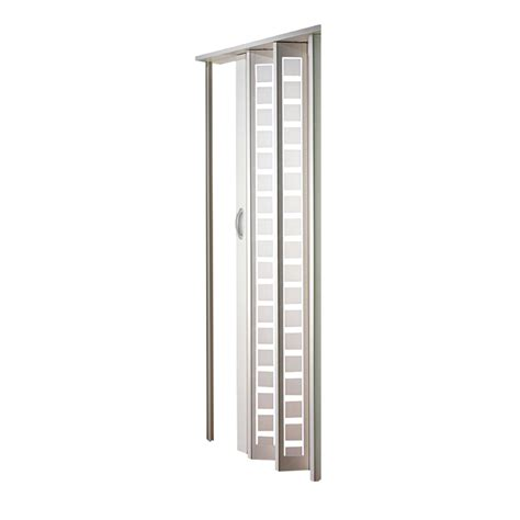 Vinyl Closet Doors Shop Spectrum Metro White Hollow Vinyl Accordion Interior Door With Hardware Common 32 In