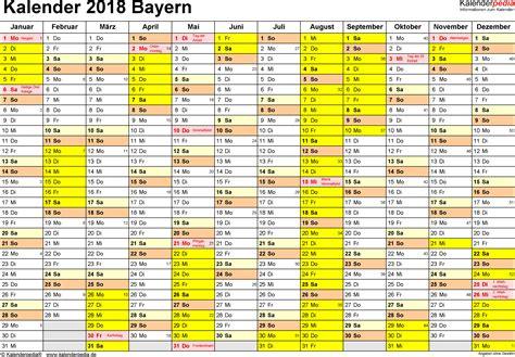 Kalender 2018 Zum Ausdrucken Mit Feiertagen Bayern Ferien Bayern 2018 220 Bersicht Der Ferientermine
